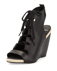 Pierre Hardy Leather Lace Up Wedge Sandal Black