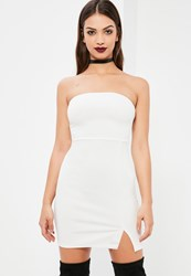 Missguided White Bandeau Bodycon Dress With Side Split