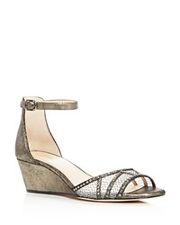Imagine Vince Camuto Joan Metallic Ankle Strap Wedge Sandals Silver