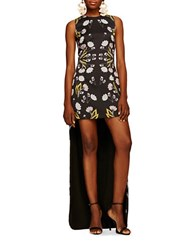 Cynthia Rowley Floral Fitted High Low Gown Black