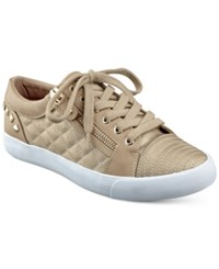 G By Guess Olivia Quilted Lace Up Sneakers Women's Shoes Gold