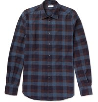 Boglioli Checked Cotton Flannel Shirt Blue