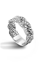 Women's John Hardy 'Classic Chain' Pave Diamond Braided Band Ring