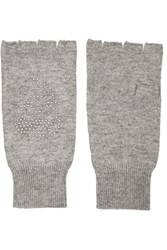 Autumn Cashmere Studded Cashmere Fingerless Gloves Gray