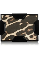 Lee Savage Space Leopard Print Leather Box Clutch