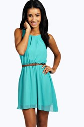 Boohoo Sleeveless Chiffon Belted Skater Dress Mint