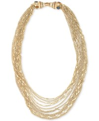 Carolee Gold Tone Multi Chain Statement Necklace