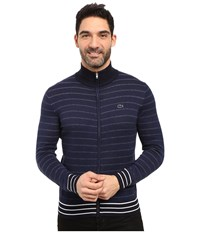 Lacoste Long Sleeve Double Face Chine Stripe Zip Cardigan Midnight Blue Chine Navy Blue Flour Men's Sweater