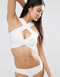 Missguided Wrap Over Premium Bandage Bikini Top White