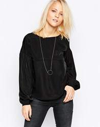 Minimum Long Sleeve Top With Ribbed Neck Black
