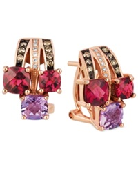 Le Vian Multi Stone 2 3 4 Ct. T.W. Chocolate Diamond 1 6 Ct. Tw. And Diamond Accent Earrings In 14K Rose Gold