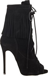 Giuseppe Zanotti Fringe Lace Up Ankle Boots Colorless