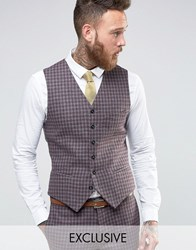 Heart And Dagger Slim Waistcoat In Check Burgundy Red