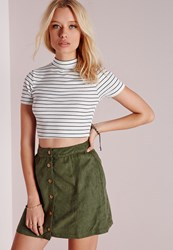 Missguided Knit Stripe High Neck Capped Sleeve Crop Top White
