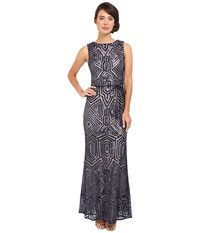 Vince Camuto Geometric Sequins Gown Navy Women's Dress
