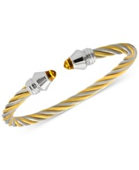 Charriol Women's Fabulous Citrine Stone Two Tone Pvd Stainless Steel Cable Bangle Bracelet 04 821 1219 1M Two Tone