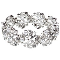 John Lewis Stretch Faux Pearl And Diamante Bracelet Silver