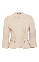 Zac Posen Three Quarter Length Sleeve Moto Jacket Pink