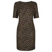 Oasis Popcorn Zig Zag Shift Dress Black