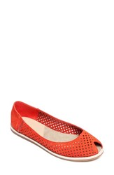 Cape Cod Shoe Supply Co. Women's 'Laura' Perforated Peep Toe Flat