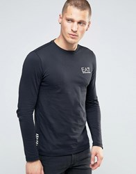 Emporio Armani Ea7 Long Sleeve Top With Chest Logo In Black Black