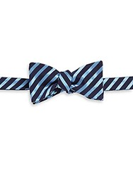Ike Behar Party Stripe Silk And Cotton Bow Tie Charcoal