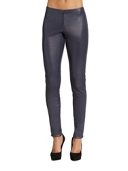 Alice Olivia Front Zip Leather Legging Navy Black