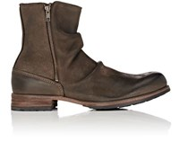 Shoto Men's Leather Side Zip Boots Brown