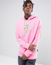 Jaded London Oversized Hoodie With Floral Print Pink