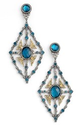 Women's Konstantino 'Thalassa' Blue Topaz Kite Chandelier Earrings Silver London Blue Topaz