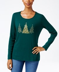 Karen Scott Holiday Tree Graphic Top Only At Macy's Spruce Night