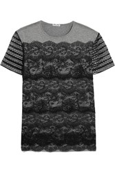 Miu Miu Lace And Cotton Jersey T Shirt Gray