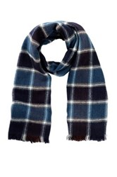 Amicale Acrylic Plaid Scarf Blue