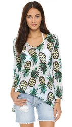 Milly Pineapple Print Buzios V Neck Tunic Multi
