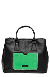 Hayden 'Busy Day' Leather Satchel Black Perf Multi