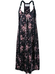 Strateas Carlucci Floral Print Slip Dress Black