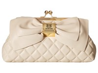 Love Moschino Quilted Bow Clutch White Clutch Handbags