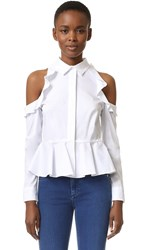 Jonathan Simkhai Cutout Shoulder Ruffle Shirt White