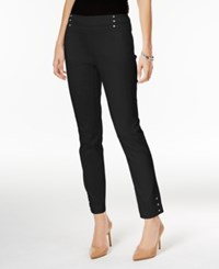 Jm Collection Embellished Pull On Ankle Pants Only At Macy's Deep Black