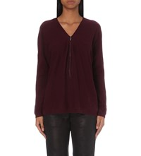 The Kooples Knitted Cashmere Jumper Burgundy