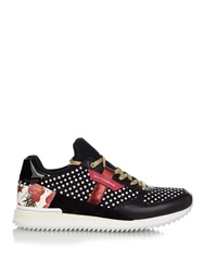 Dolce And Gabbana Polka Dot Leather And Suede Low Top Trainers