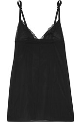 La Perla Lace Flirt Leavers Lace Trimmed Stretch Silk Blend Chemise Black