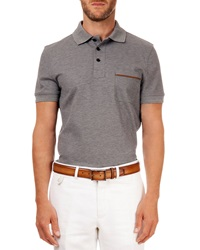 Berluti Polo With Leather Detail Gray