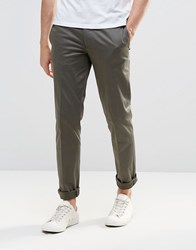 Asos Skinny Smart Chinos In Khaki Forest Night Green