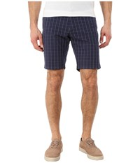 Lacoste Resort Plaid Bermuda Shorts Navy Blue White Men's Shorts