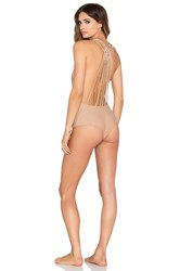 Bettinis Macrame One Piece Swimsuit Tan