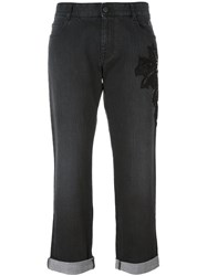 Stella Mccartney Embroidered Cropped Jeans Black