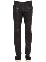 Balmain 17Cm Biker Leather And Cotton Denim Jeans