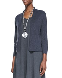 Eileen Fisher 3 4 Sleeve Slub Cropped Cardigan Petite Graphite Grey