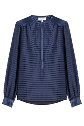 Paul And Joe Sheer Panel Striped Silk Blouse Blue